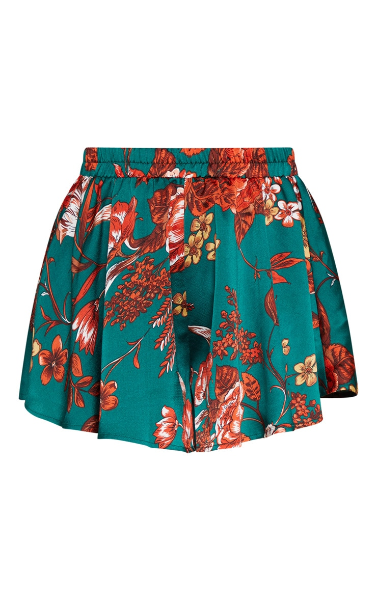 Emerald Green Floral Printed Floaty Short 3