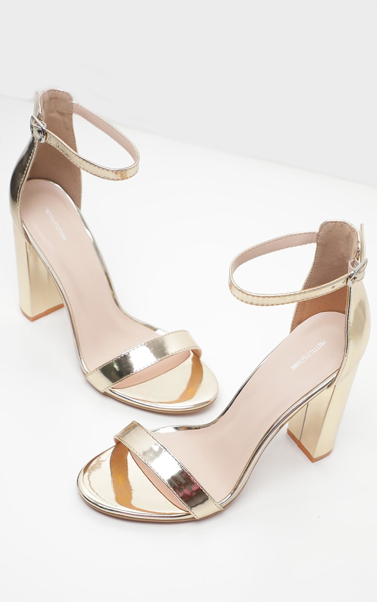 Gold Wide Fit Block Heeled Sandals 3