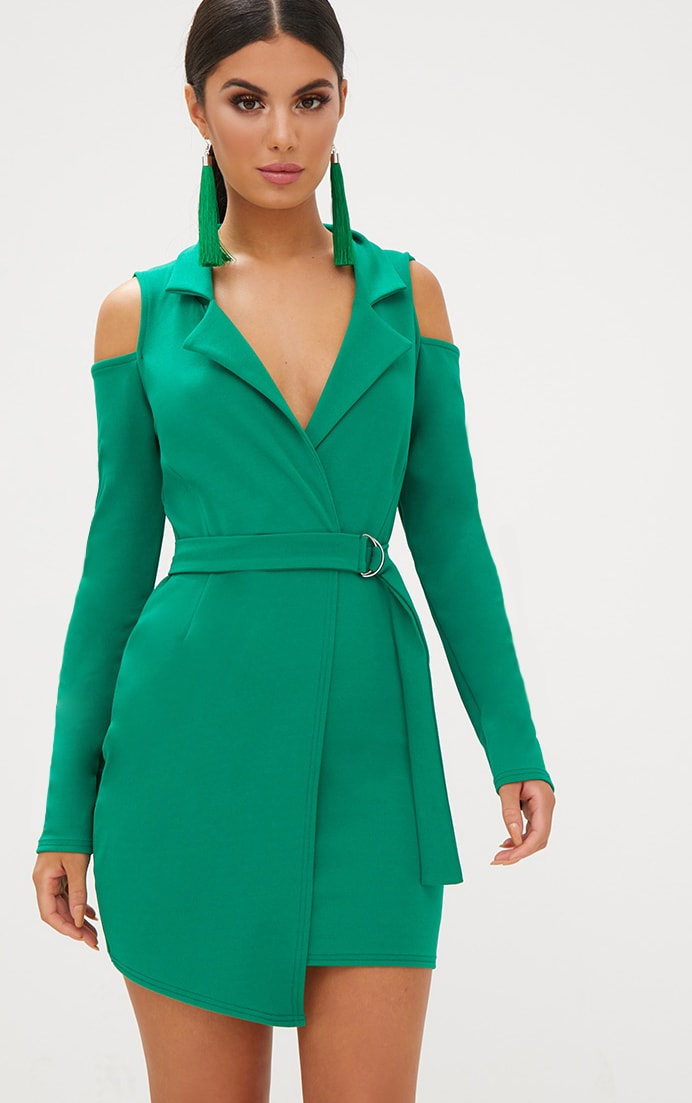 Bright Green Cold Shoulder Blazer Dress 1