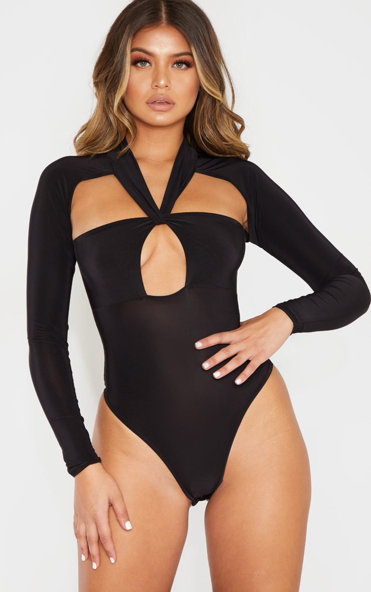 Black Twist Cut Out Long Sleeve Bodysuit 2