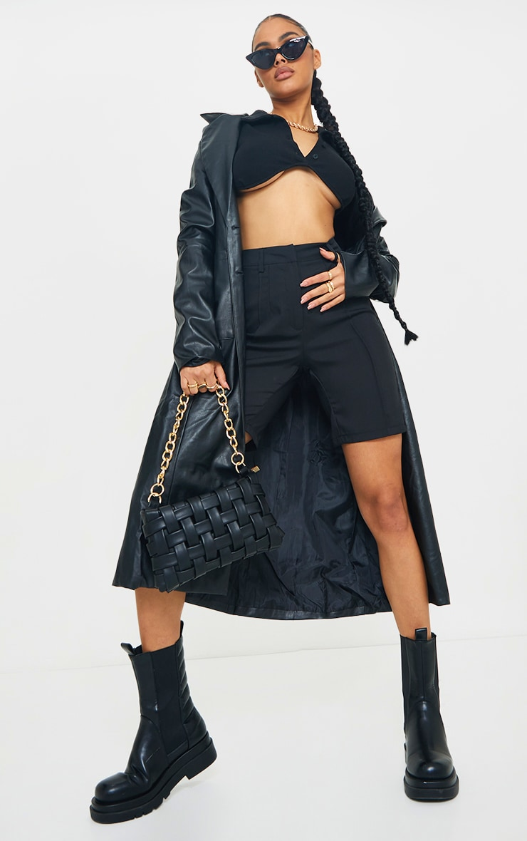 Black Woven High Waisted Tailored Short 1