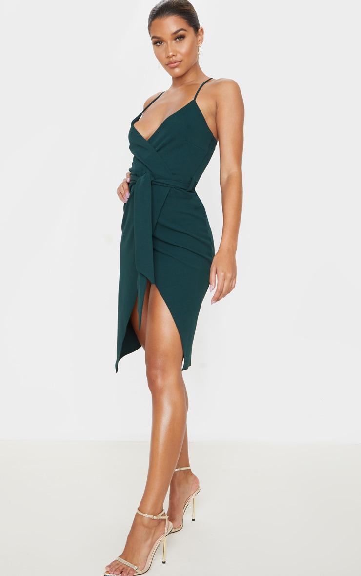 Emerald Green Strappy Wrap Tie Waist Midi Dress 4
