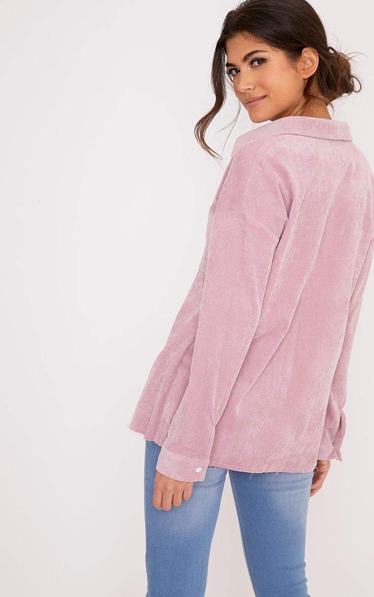 Auriela Pink Cord Distressed Hem Oversized Shirt 2