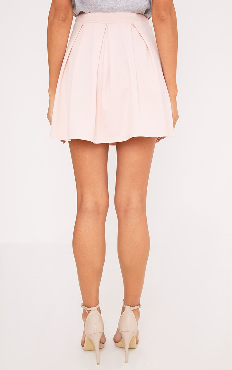 Rosabela Blush Box Pleat Skater Mini Skirt  4