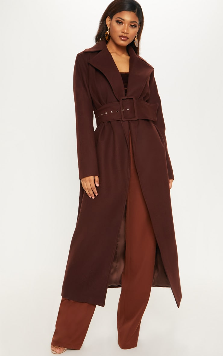 Tall Chocolate Brown Belted Coat  1