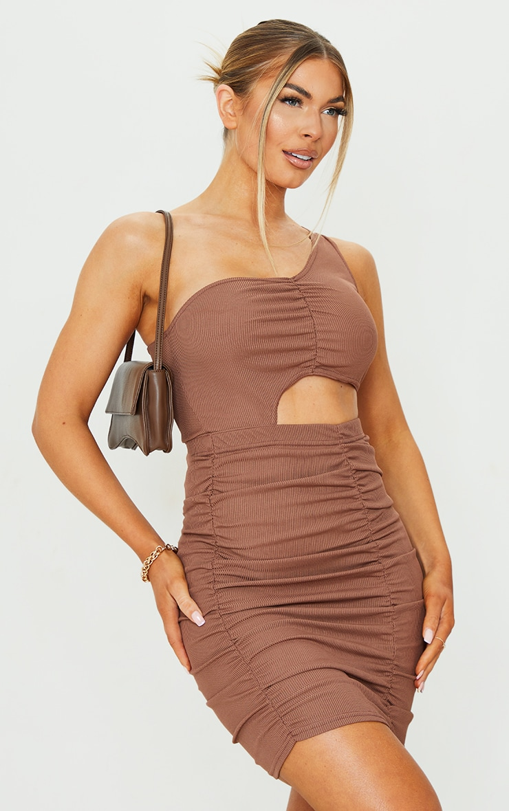 Chocolate Ribbed One Shoulder Ruched Cut Out Bodycon Dress 1