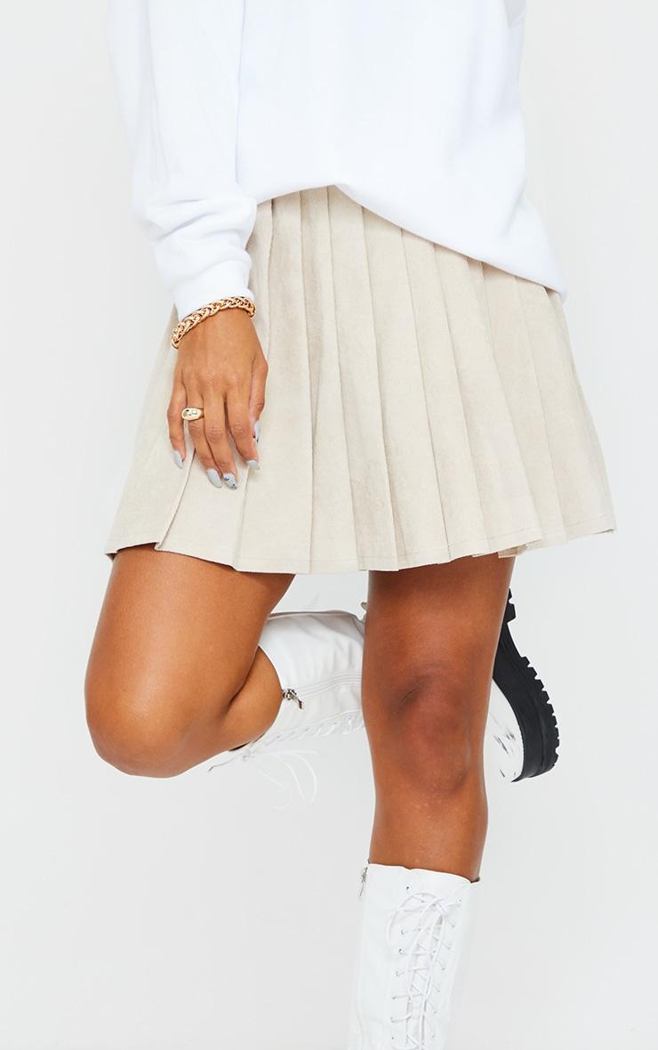 Stone Cord Pleated Skater Skirt 5