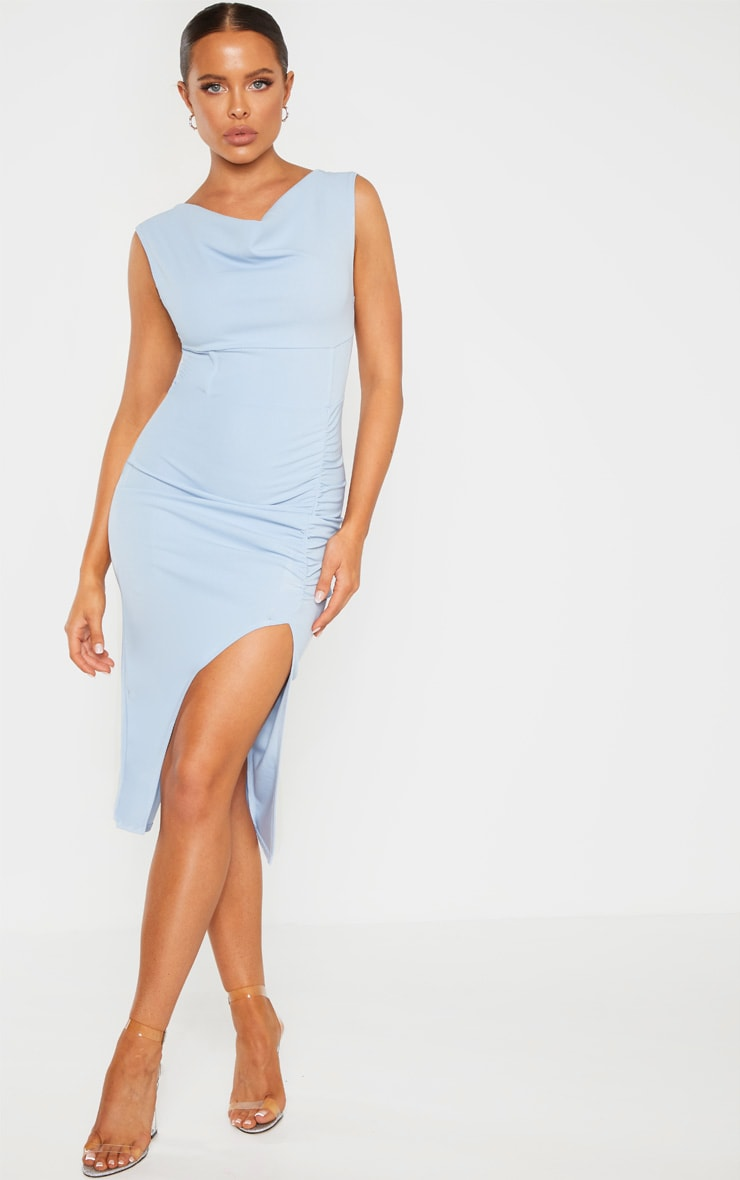 Dusty Blue Ruched Cowl Neck Midi Dress 4