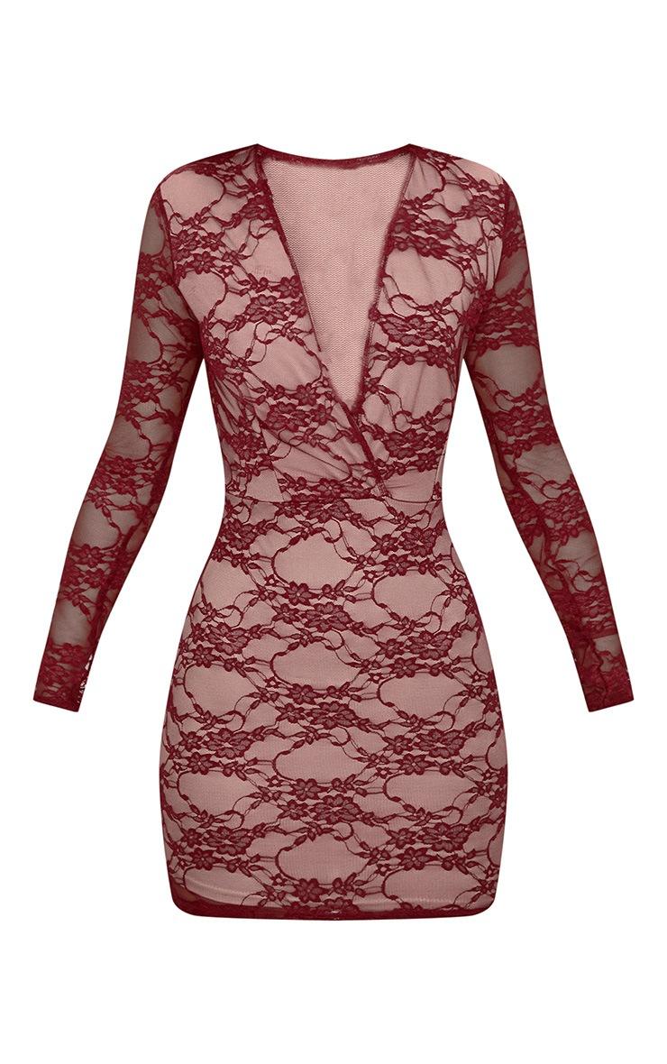Burgundy Lace Long Sleeve Plunge Bodycon Dress  3