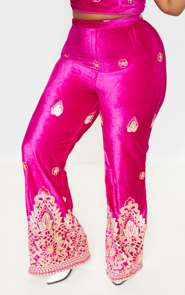 Plus Fuchsia Velvet Paisley Embroidered Flare Pants 3