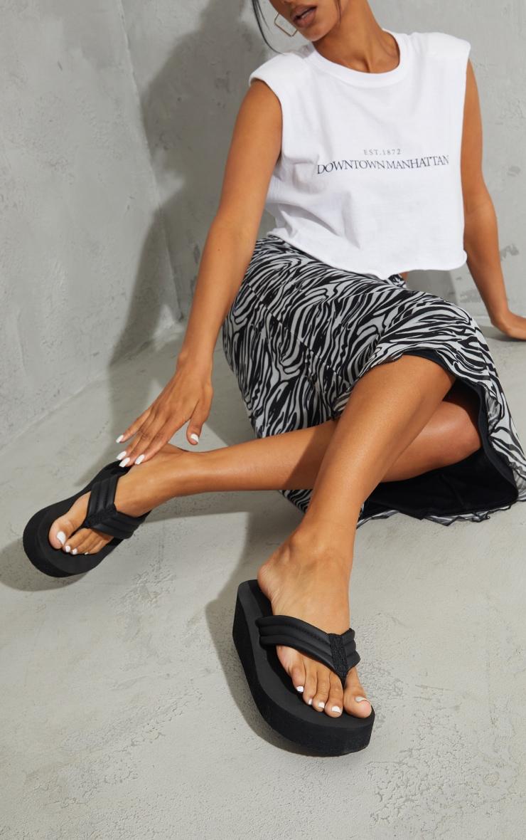 Black Toe Thong Mule Wedges Sandals 2