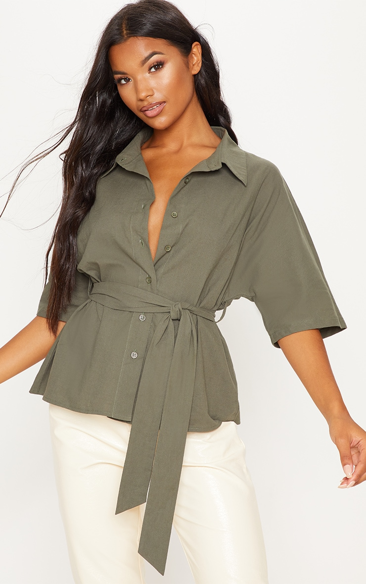 Khaki Oversized Short Sleeve Tie Shirt 1