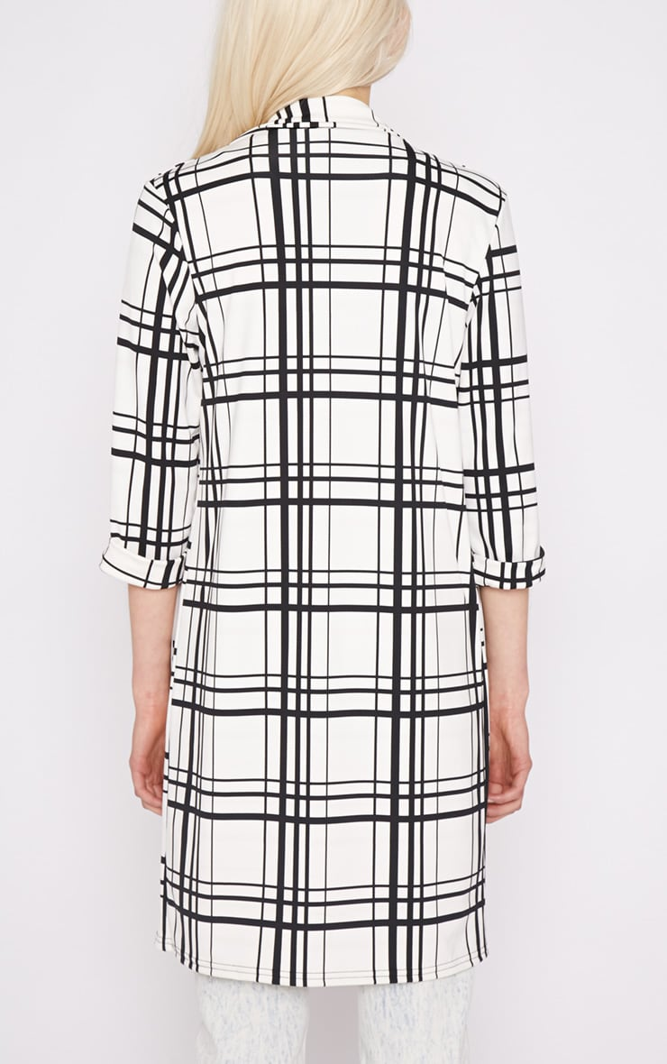 Aggie White Checked Duster Jacket  2