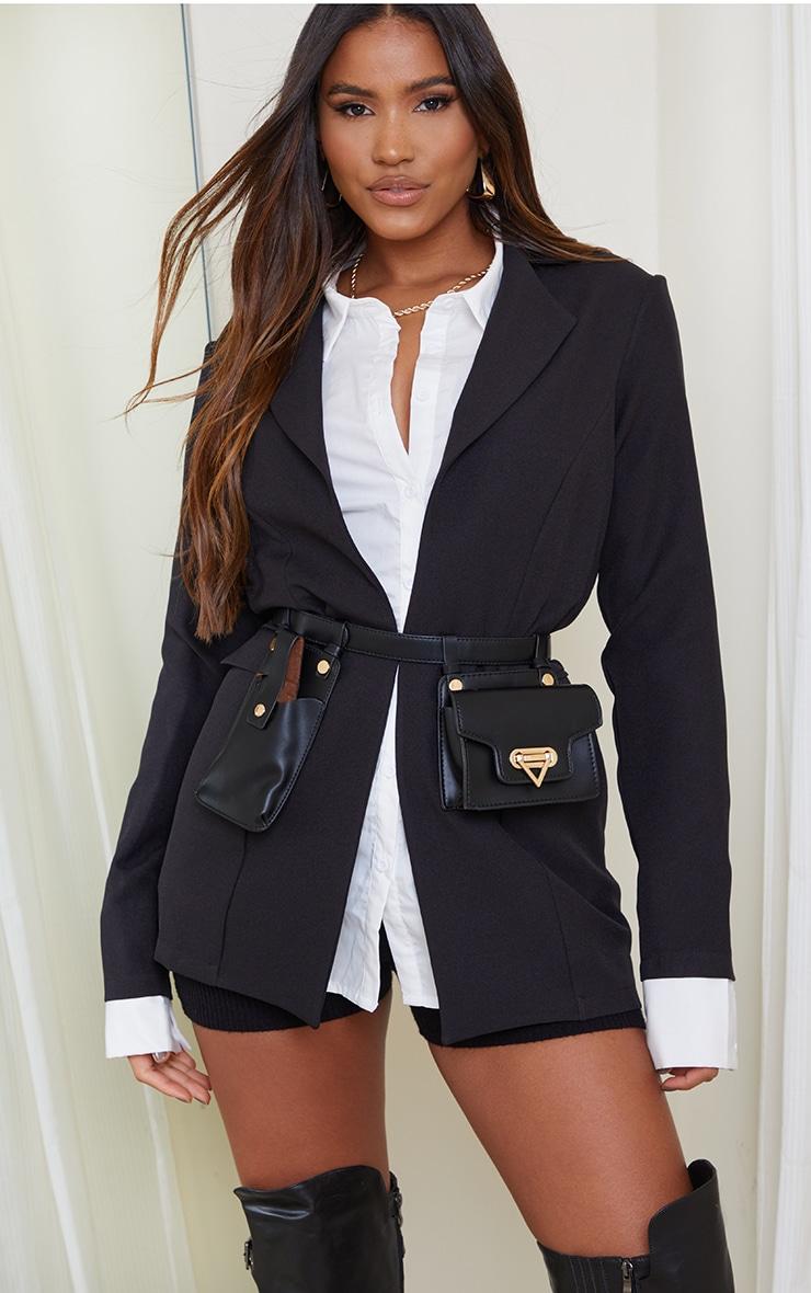 Black Multi Pocket Bag Belt 1
