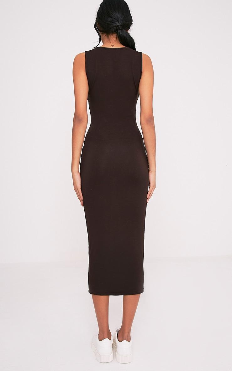 Mirah Brown Scoop Neck Midaxi Dress 2