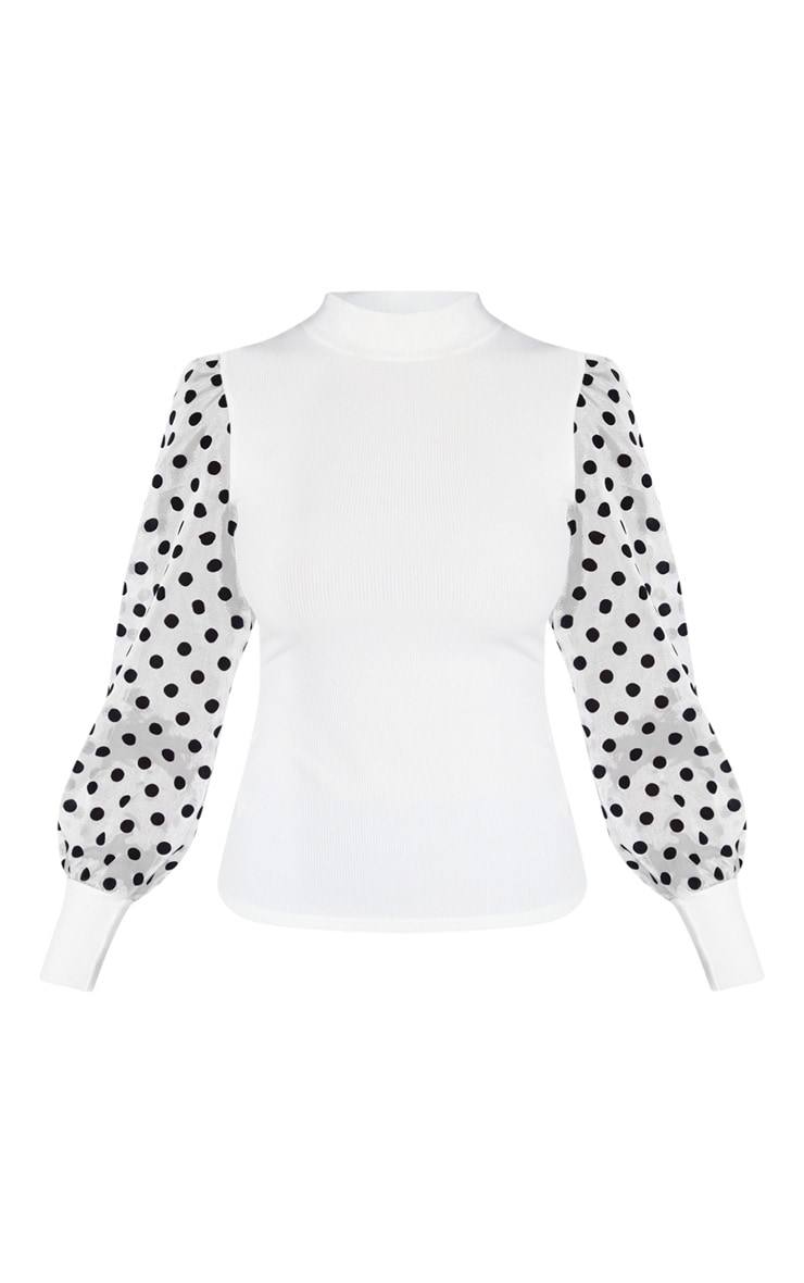 White Rib High Neck Sheer Polka Dot Puff Sleeve Long Top 3