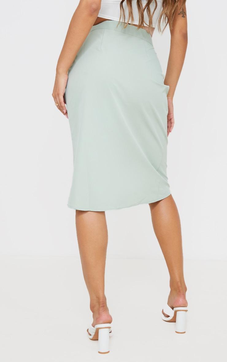 Sage Green Foldover Button Through Midi Skirt 3