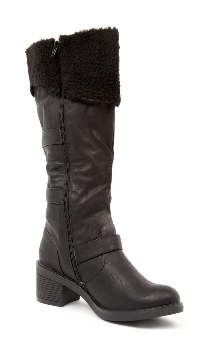 Helina Black Shearling Heeled Biker Boots 2