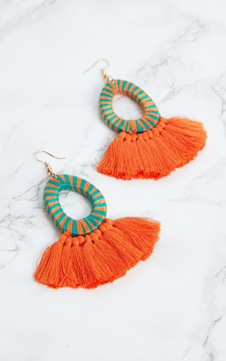 Orange Stripe Tassel Earrings 4