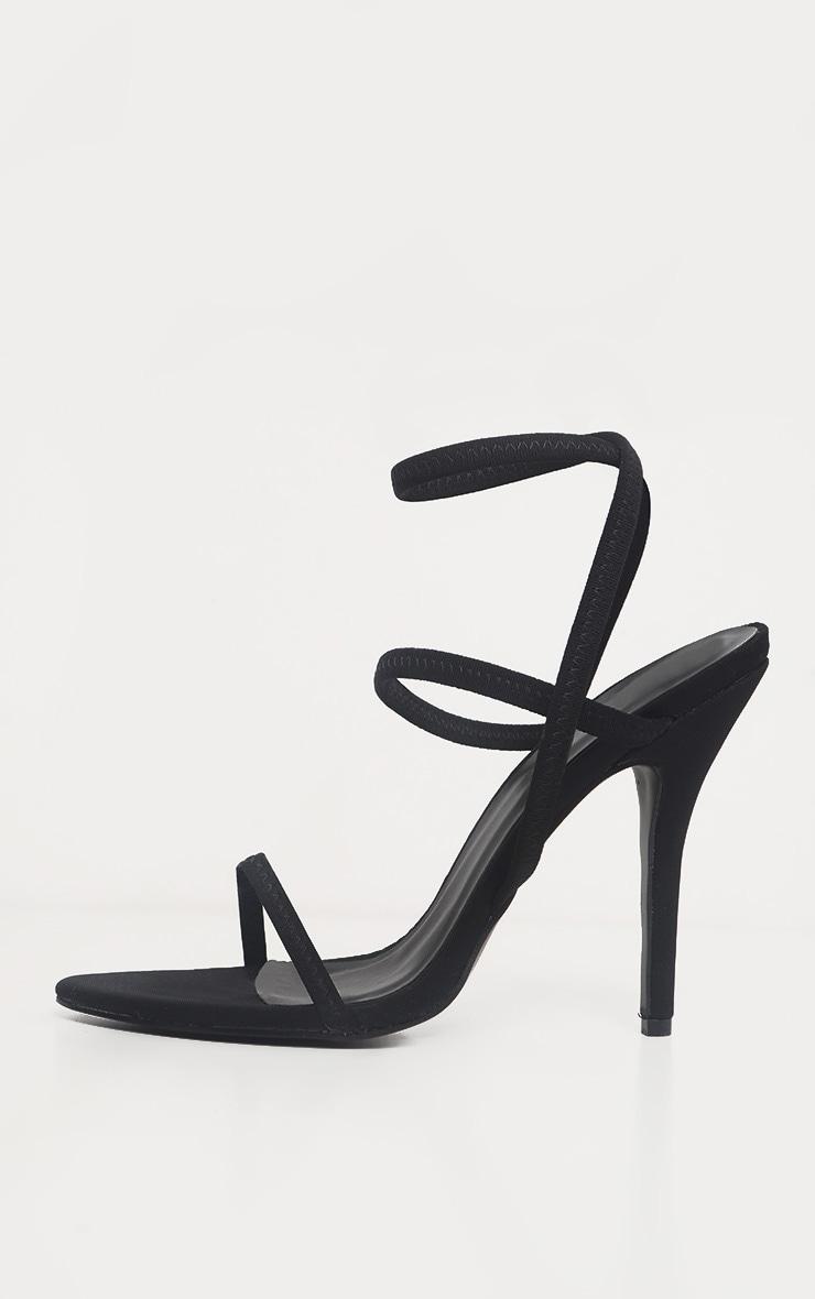 Black Lycra Triple Strap Sandals 4