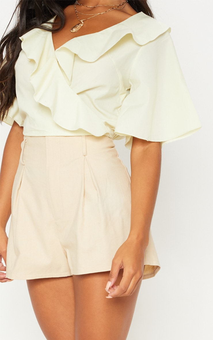 Pale Yellow Frill Wrap Front Crop Blouse 5