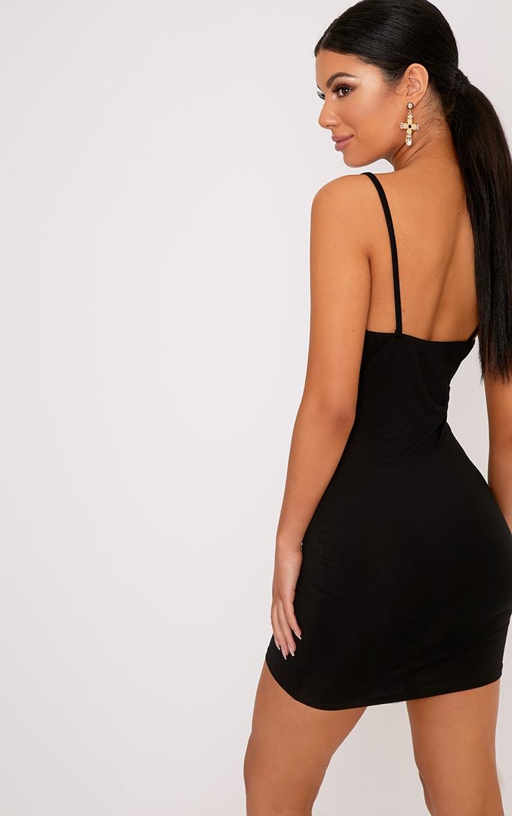 Basic Black Strappy Bodycon Dress 2