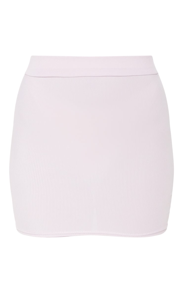 Lilac Rib Bodycon Mini Skirt 3