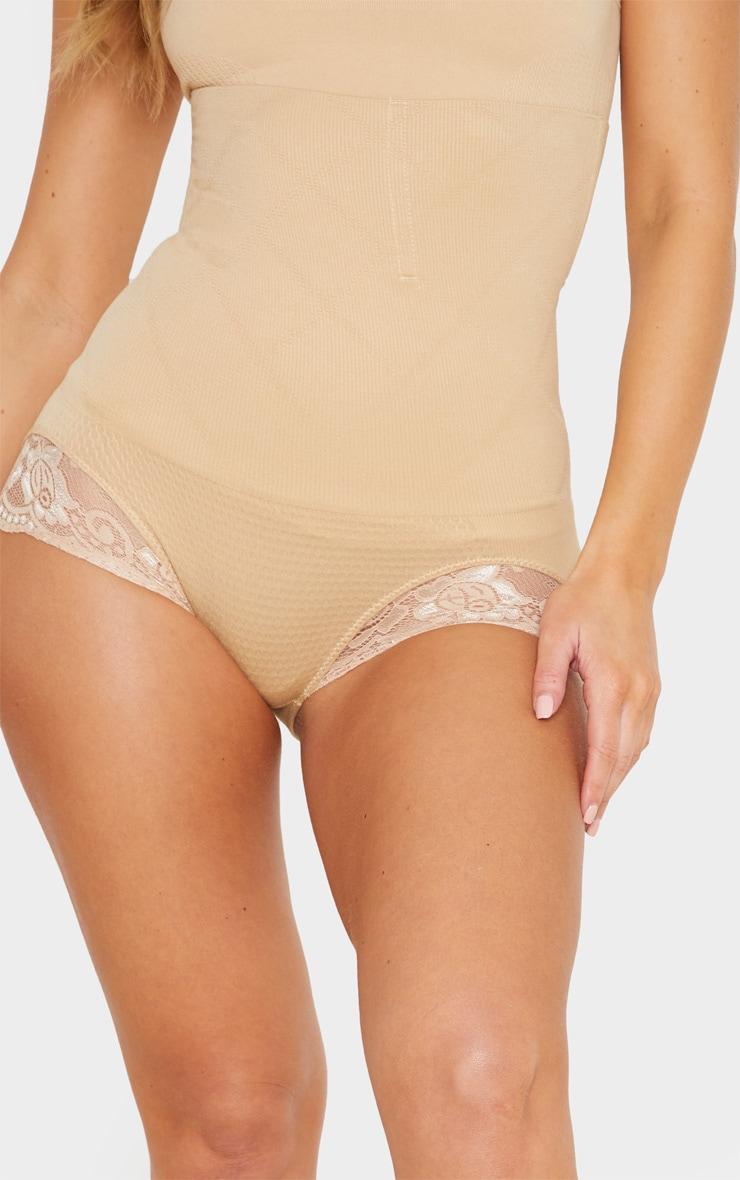 Nude High Waisted Shapewear Lace Trim Briefs 5