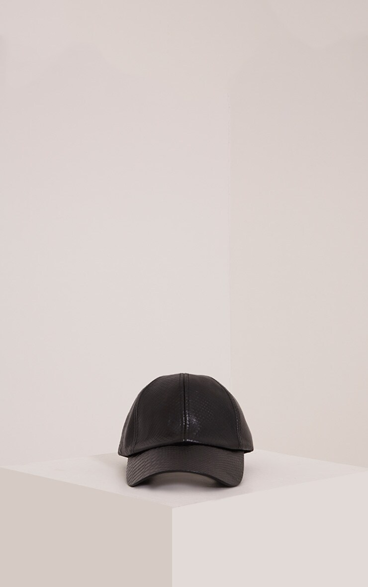 Verah Black PU Textured Baseball Cap 3