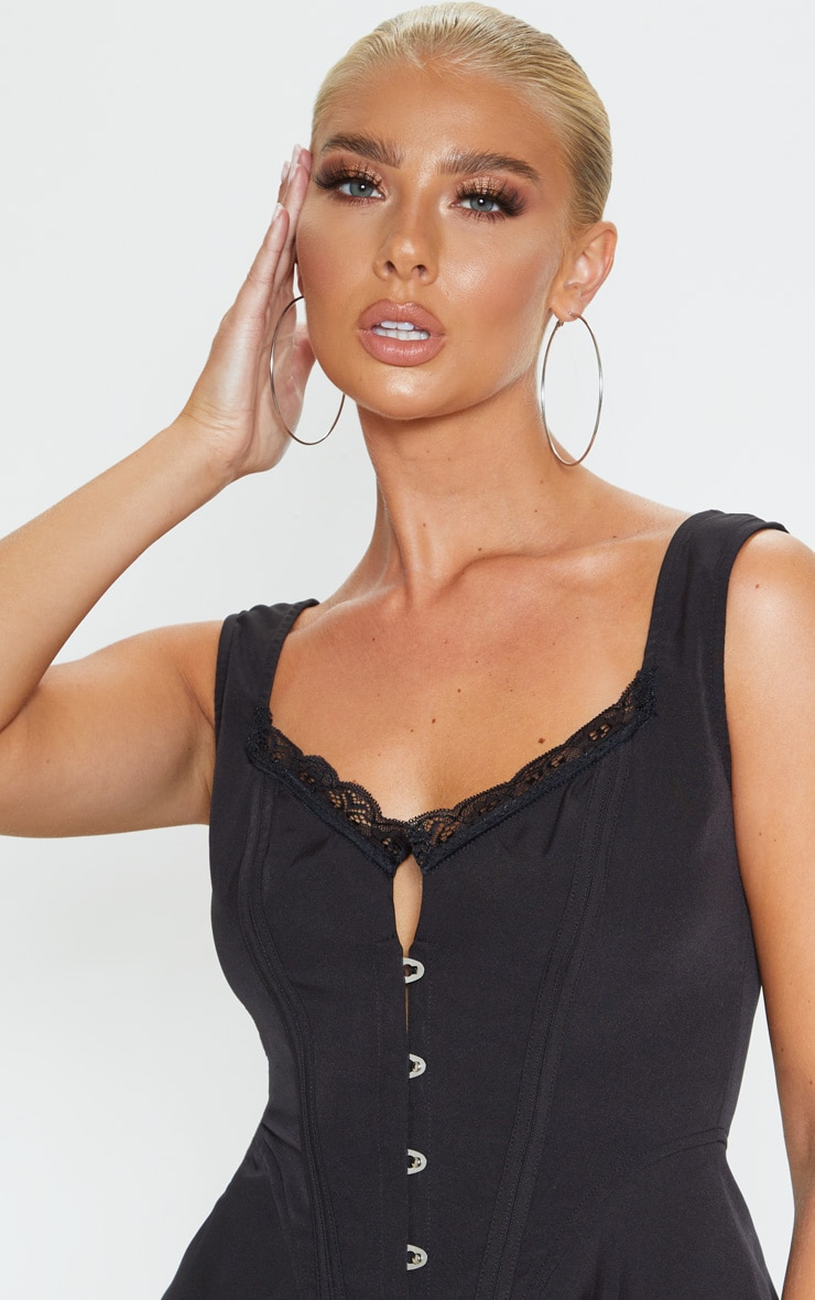 Black Woven Structured Corset Long Top 5