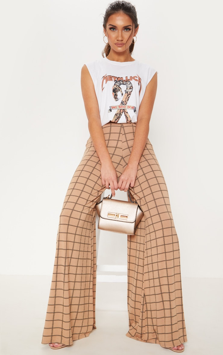 Camel Jersey Check Extreme Wide Leg Trouser