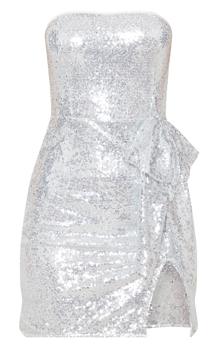 Silver Sequin Bow Detail Bandeau Bodycon Dress 3