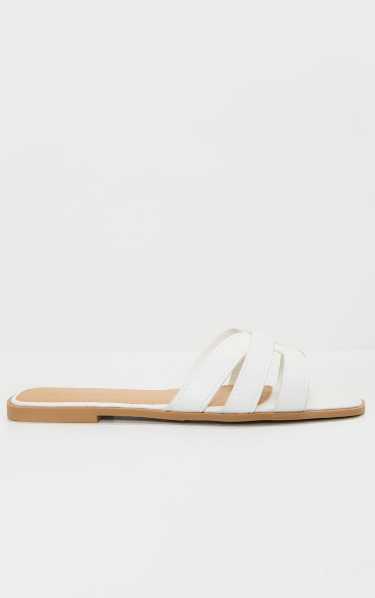 White Cross Strap Mule Flat Sandals 3
