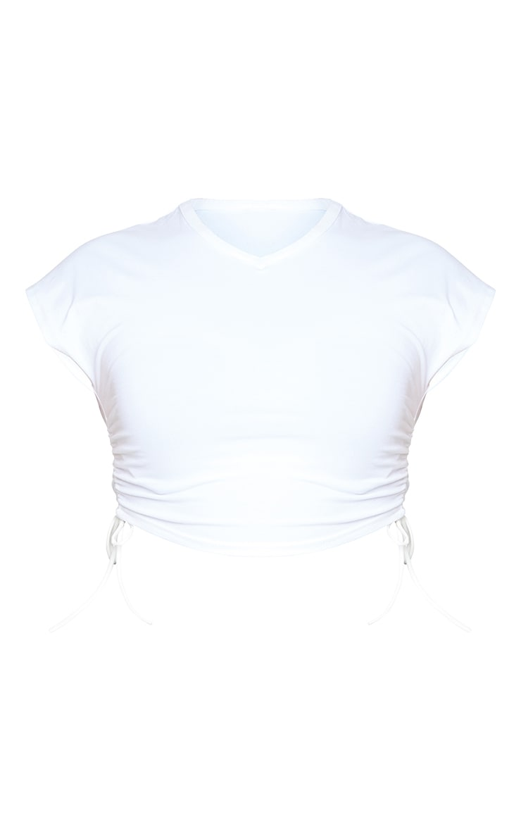 Plus White V Neck Ruched Side Cropped T Shirt 5