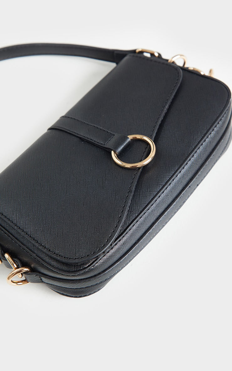 Black PU Ring Detail Saddle Shoulder Bag 4