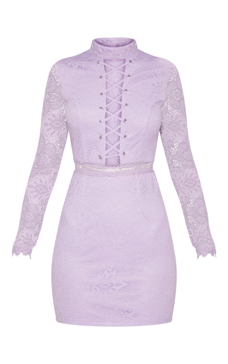 Lilac High Neck Lace Up Bodycon Dress 3