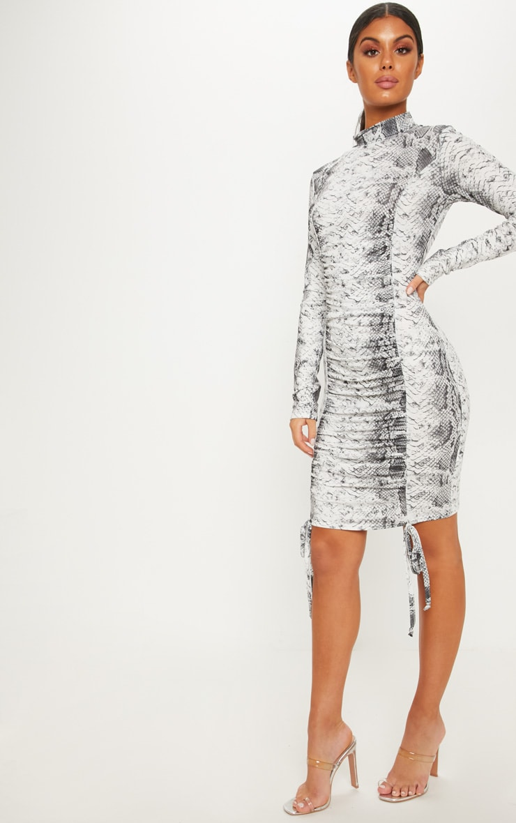 Grey Snake Print High Neck Ruched Front Midi Dress 4