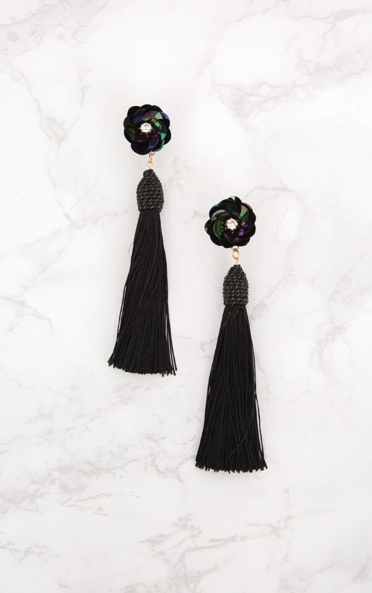 Black Floral Stud Tassel Earrings 3