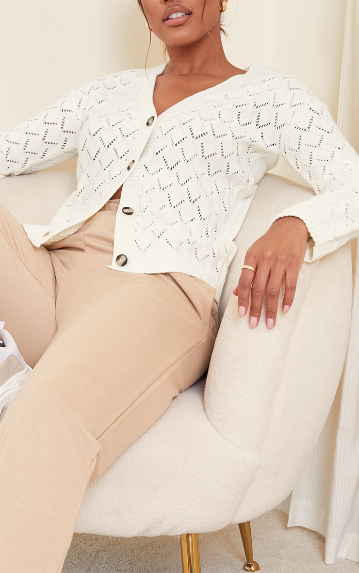 Cream Pointelle Button Up Slouchy Cardigan 4