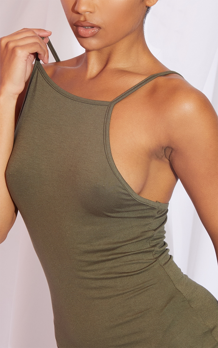 Khaki 90s Neck Bodycon Dress 4