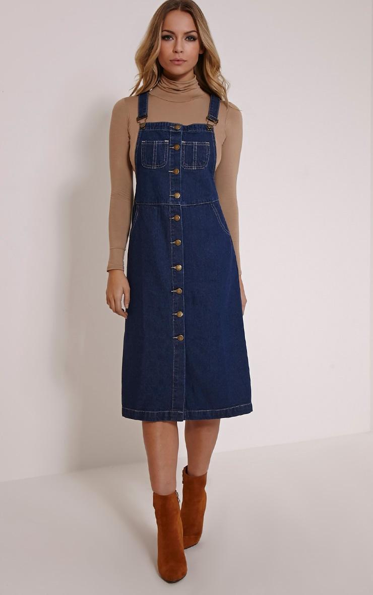 Dolly Indigo Denim Button Front Pinafore Dress 4