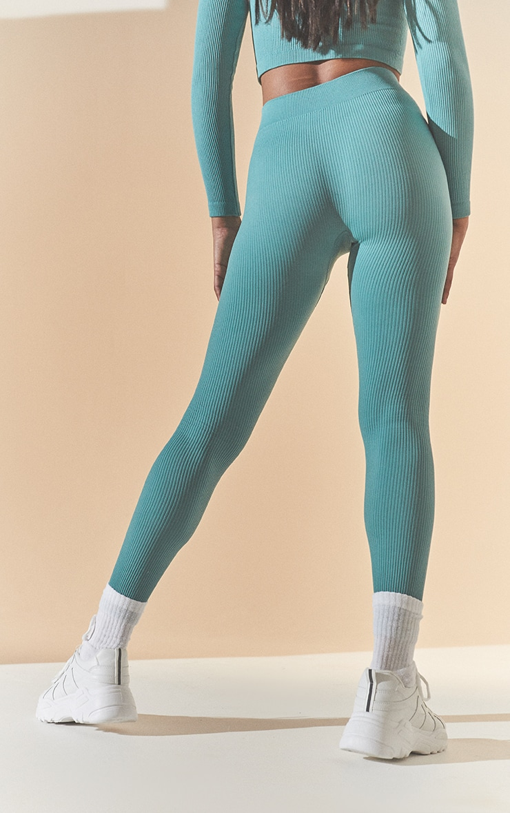 Washed Green Structured Contour Ribbed Leggings 3
