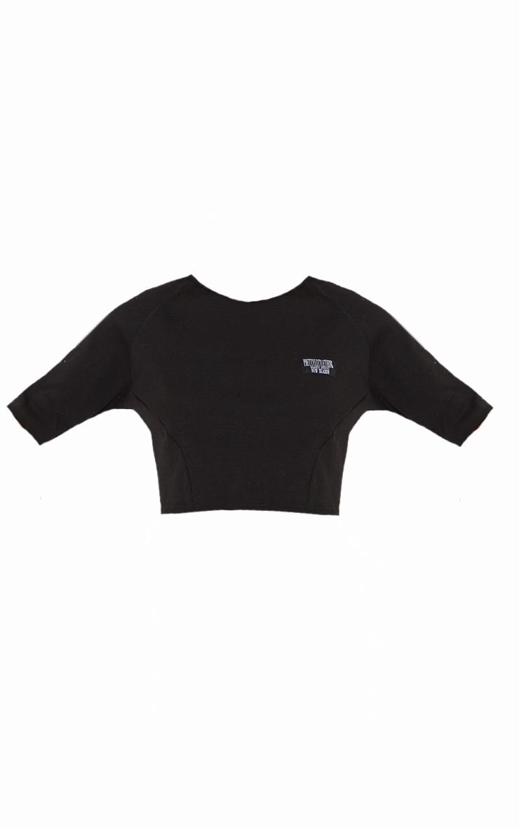 PRETTYLITTLETHING Black Badge Rib Overlock Seam Crop Top 5