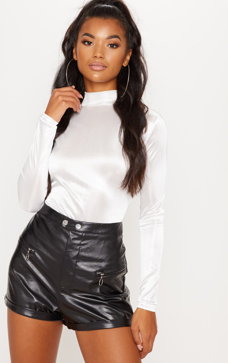 Black Faux Leather Zip Detail Short 1