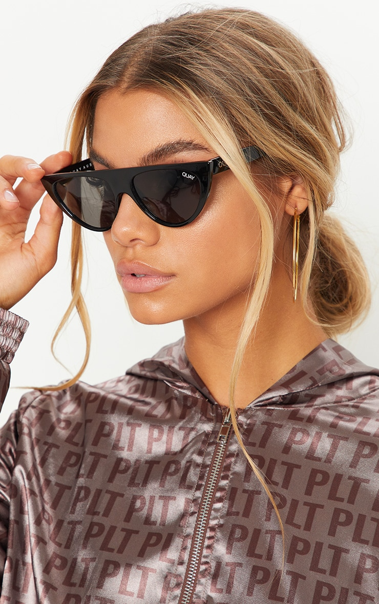 QUAY AUSTRALIA Black Runaway Half Frame Sunglasses 1