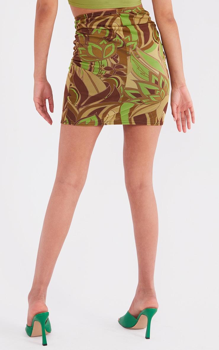Tall Khaki Floral Print Wrap Mini Skirt 3