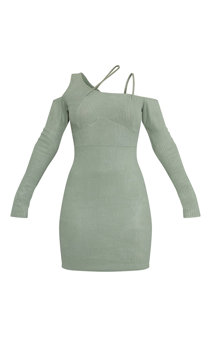 Khaki Brushed Rib Cold Shoulder Strap Detail Bodycon Dress 5
