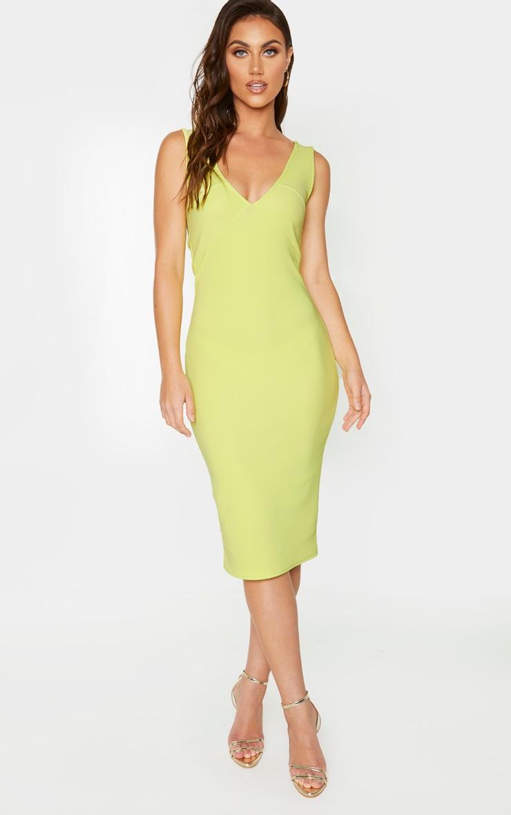 Soft Lime Bandage Rib Seam Detail Plunge Midi Dress 1