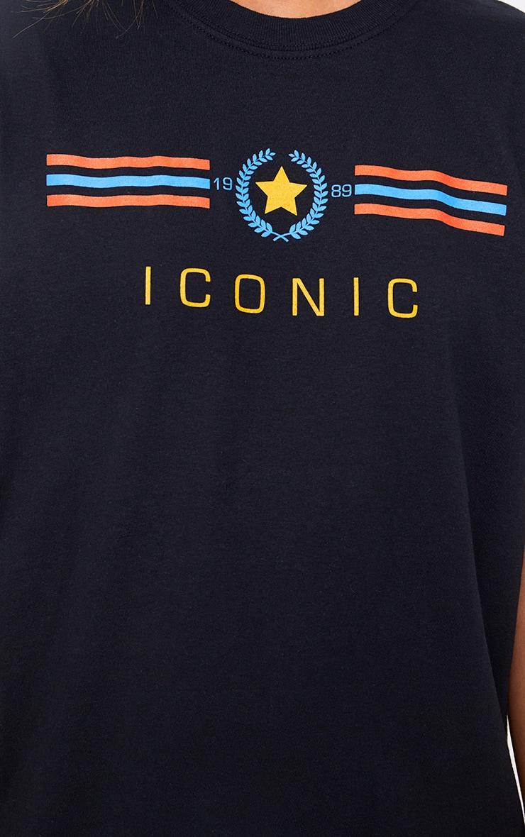 T-shirt à slogan Iconic noir  4