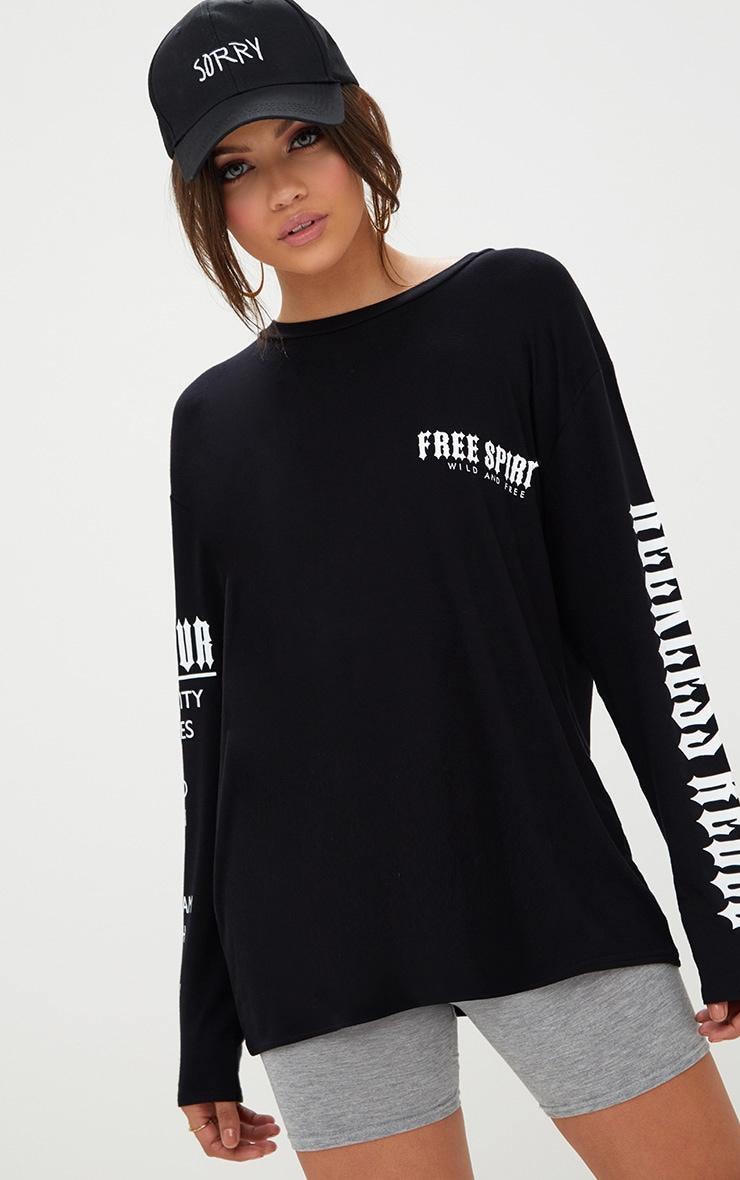 Black Free Spirit Slogan Longsleeve T Shirt 1